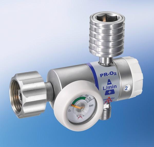 Druckminderer PR-O2-DIN-S-LS15-1-DIN, Durchfluss 0-15 l/min, Sauerstoff, kurzer Anschluss, DIN 477-1