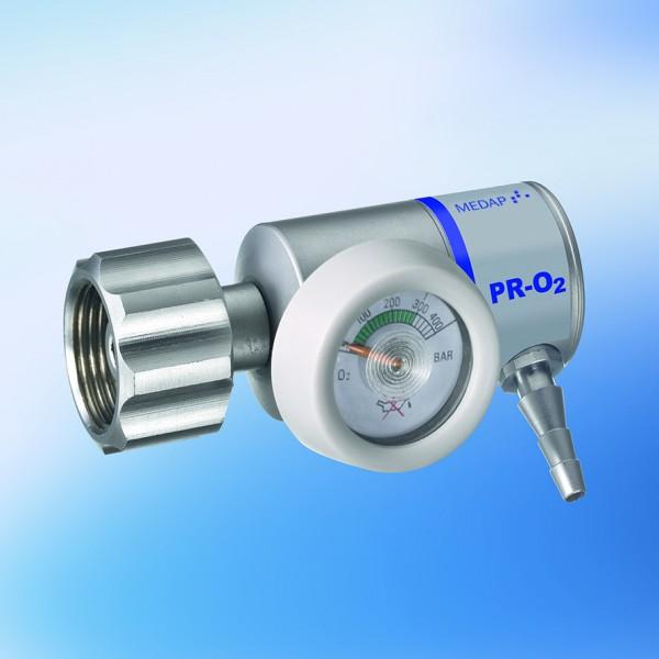 Druckminderer PR-O2-DIN-S-F4-0, mit fix eingestelltem Durchfluss 4 l/min, Sauerstoff, kurzer Anschlu